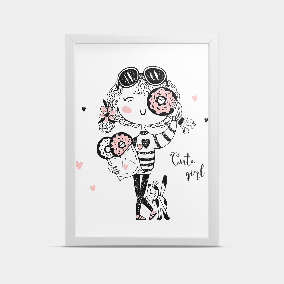 Постер на стену в детскую Девочка и пончики 20*30 см
