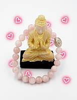 Браслет(d8), Мадагаскарський елітний рожевий кварц, срібний Будда, жіночий, заміжжя, збереження шлюбу, фото 1