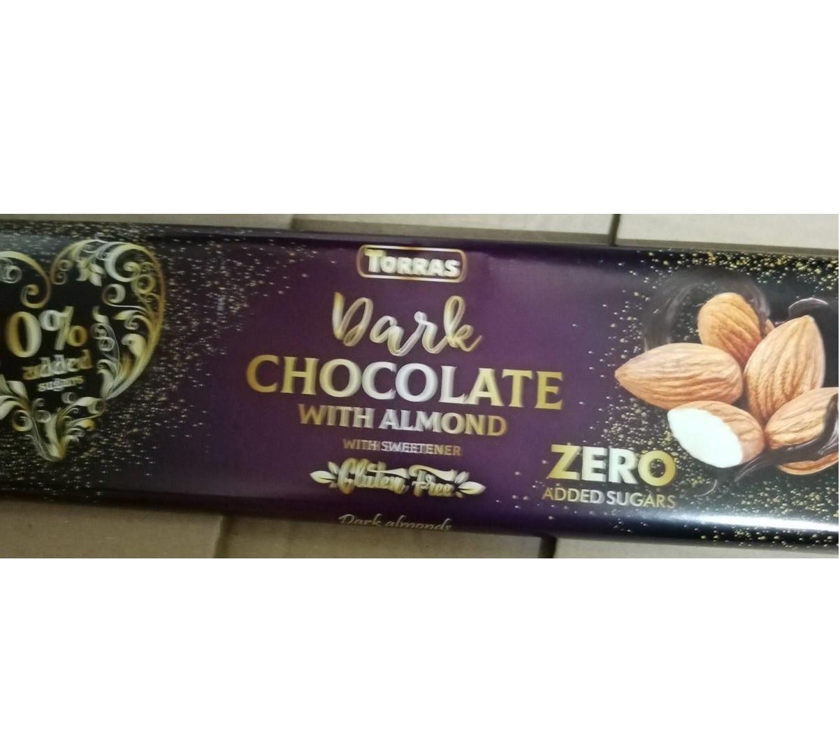 Шоколад темный без сахара и глютена Торрас с миндалем Torras Zero Dark Almond 300 г Испания