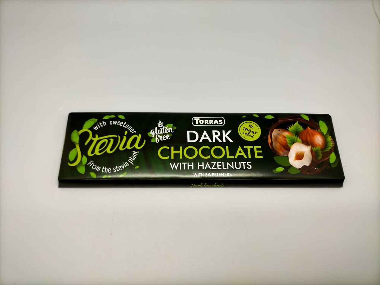 Шоколад темный без сахара и глютена Торрас с фундуком Torras Stevia Dark Huzelnuts 300 г Испания
