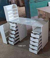 Большой стол для маникюра со стеклом, ящиками и полкой для лаков Модель V368-1377, фото 1