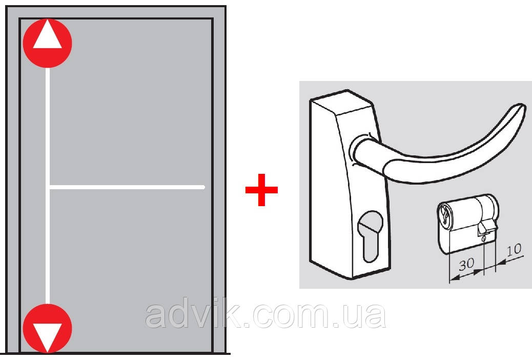 Антипаника Dorma PHA 2000 для 1-створчатой двери с вертикальным 2-точечным запиранием с внешней ручкой