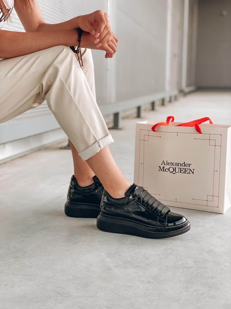 Стильні кросівки Alexander McQueen (Олександр Маквин) Light Beige Patent LUX QUALITY