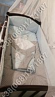 Детское постельное белье в кроватку с вышивкой Песик, комплект 7 ед. (голубой)