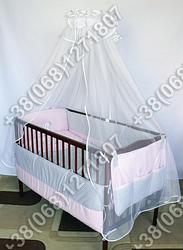Детское постельное белье в кроватку с вышивкой Песик, комплект 9 ед. (розовый)