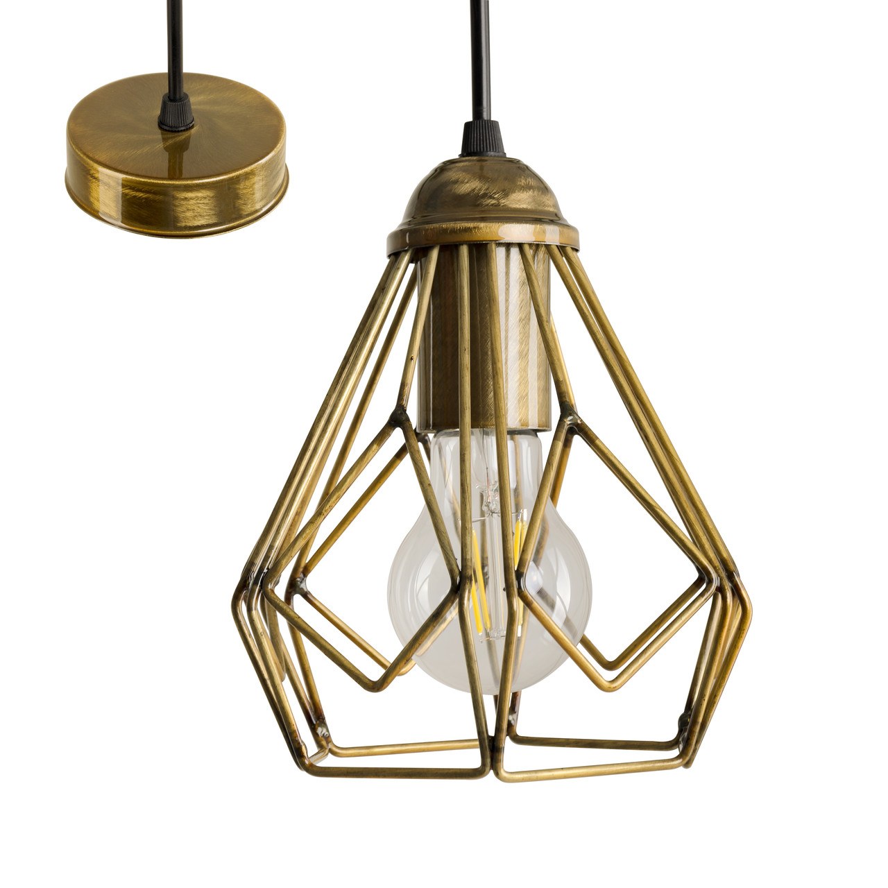 Потолочный подвесной светильник Atma Light серии Bevel P165 AnticGoldL