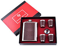 Подарочный сувенирный набор Фляга 4 рюмки коричневая