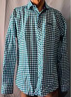 Мужская рубашка клетка бирюза