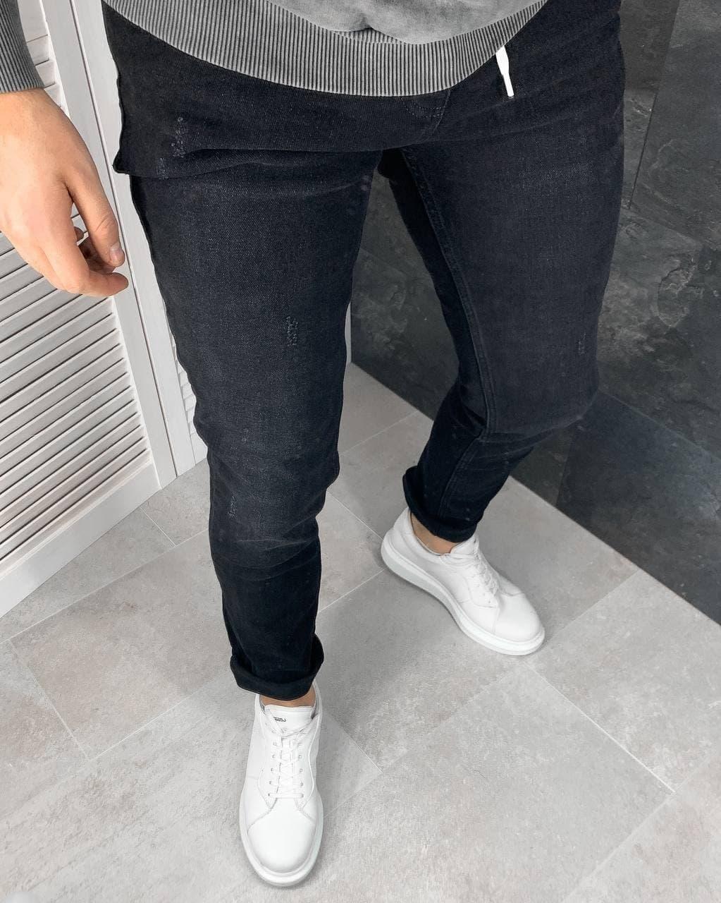 Мужские джинсы зауженные черные 1873-001
