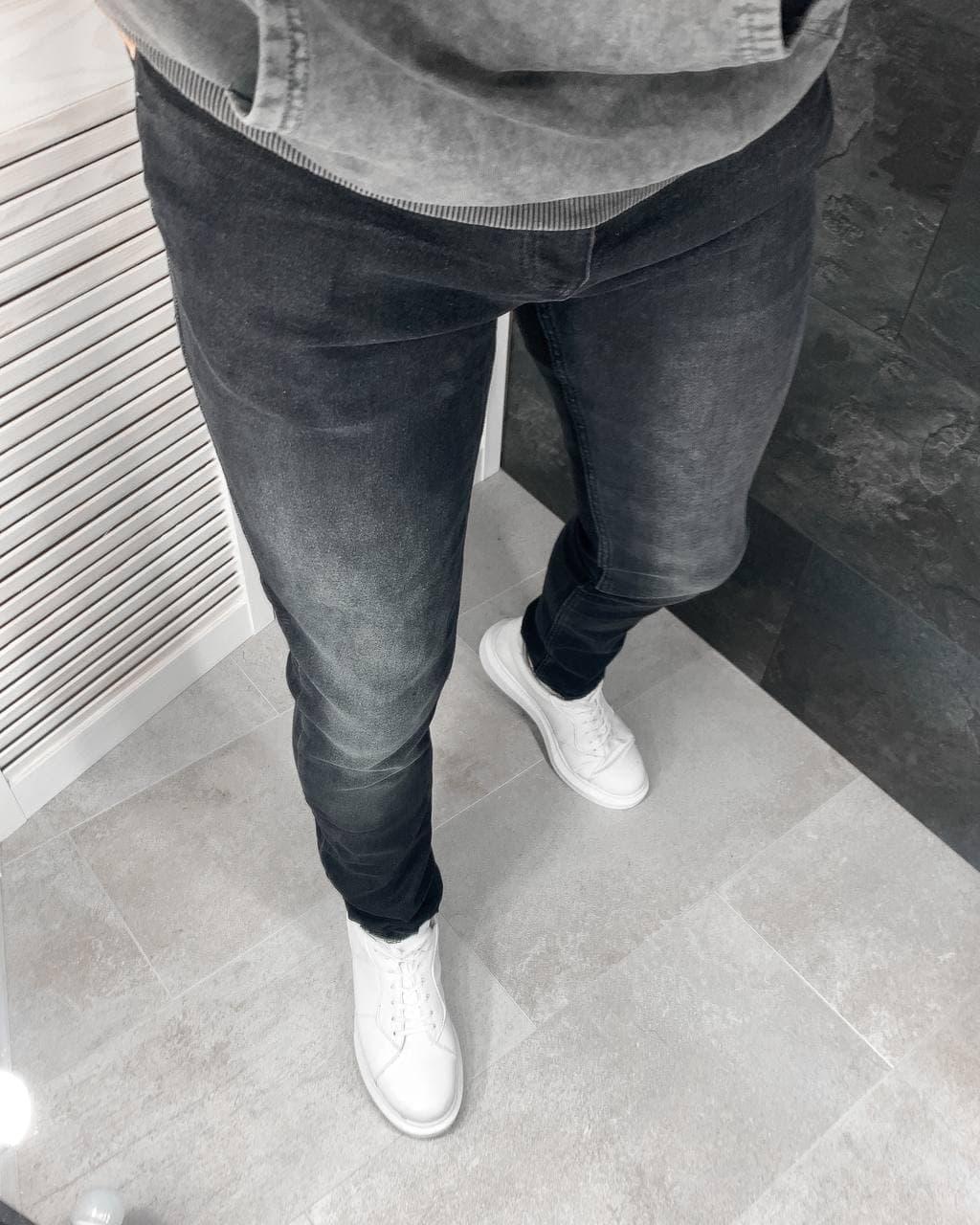 Чоловічі джинси завужені темно-сірі