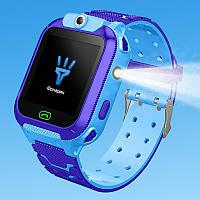 Детские водонепроницаемые смарт-часы JETIX DF22 LBS (Blue)