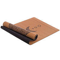 Коврик для йоги и фитнеса двухслойный RECORD 183 x 61 x 0.4 см Каучук Пробковое дерево Коричневый (FI-7156-9)
