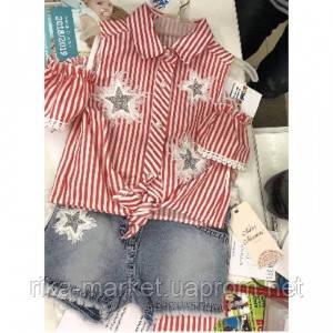 Комплект для девочки рубашка с шортами 0735