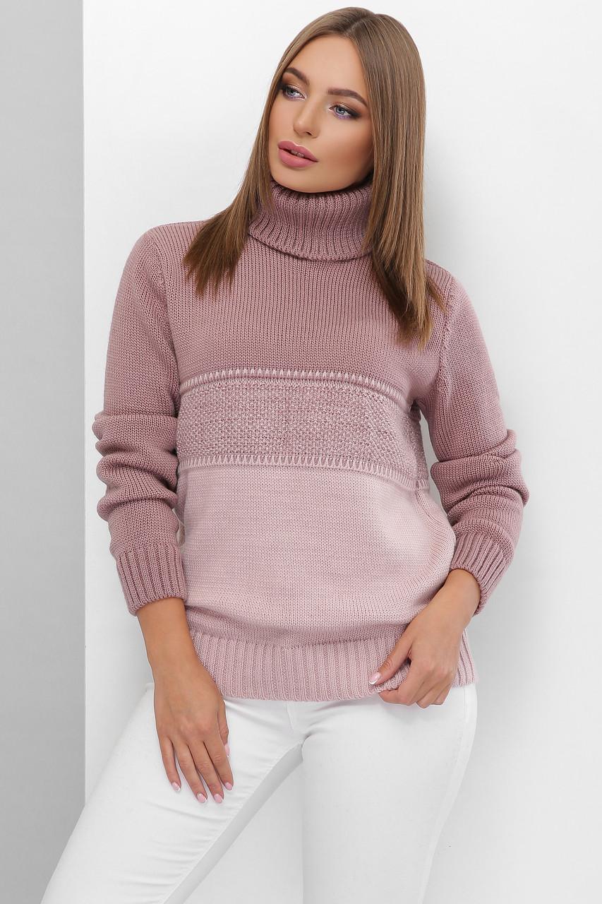 Вязаный женский свитер под горло прямого силуэта из качественной мягкой пряжи фрез-пудра