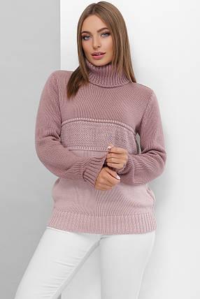 Вязаный женский свитер под горло прямого силуэта из качественной мягкой пряжи фрез-пудра, фото 2