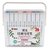 Набор скетч маркеров арт маркеры Aihao Sketch Marker двусторонние для бумаги набор 36 шт