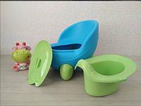 Горшок детский Турция Кью Кью голубой с зеленым, фото 1