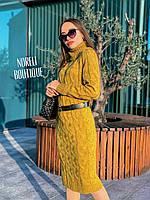 Шикарное вязанное платье-крупная косичка