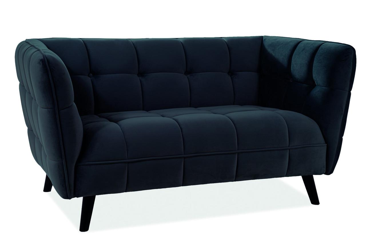Прямой диван Signal Castello Velvet 2 Черный (CASTELLO2V19)