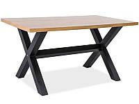 Стол обеденный Signal Мебель Xaviero 150 х 90 см Черный + Дуб (XAVIERO150)