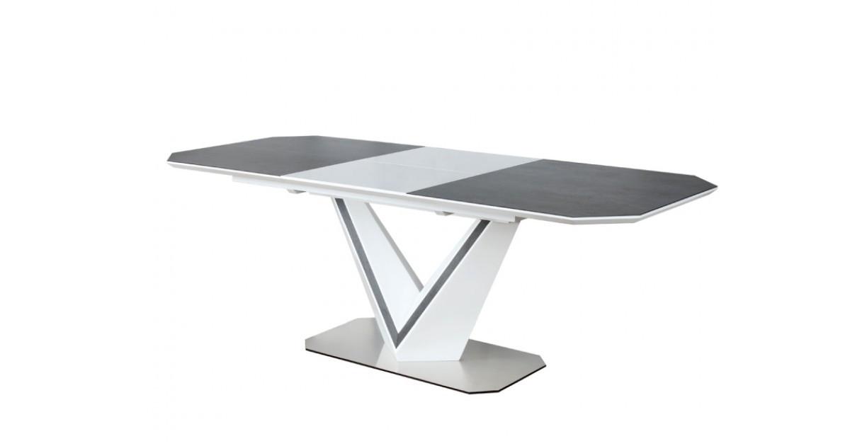 Стол обеденный Signal Valerio Ceramic 90х160(220) см Белый + Графитовый (VALERIOSZB)