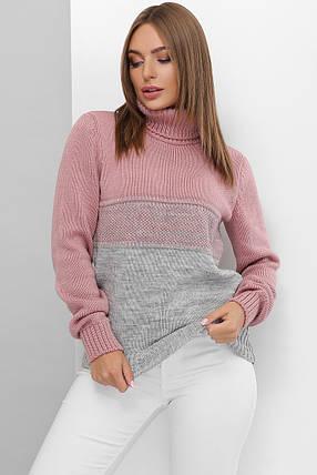 Вязаный женский свитер под горло прямого силуэта из качественной мягкой пряжи роза-темно-серый, фото 2