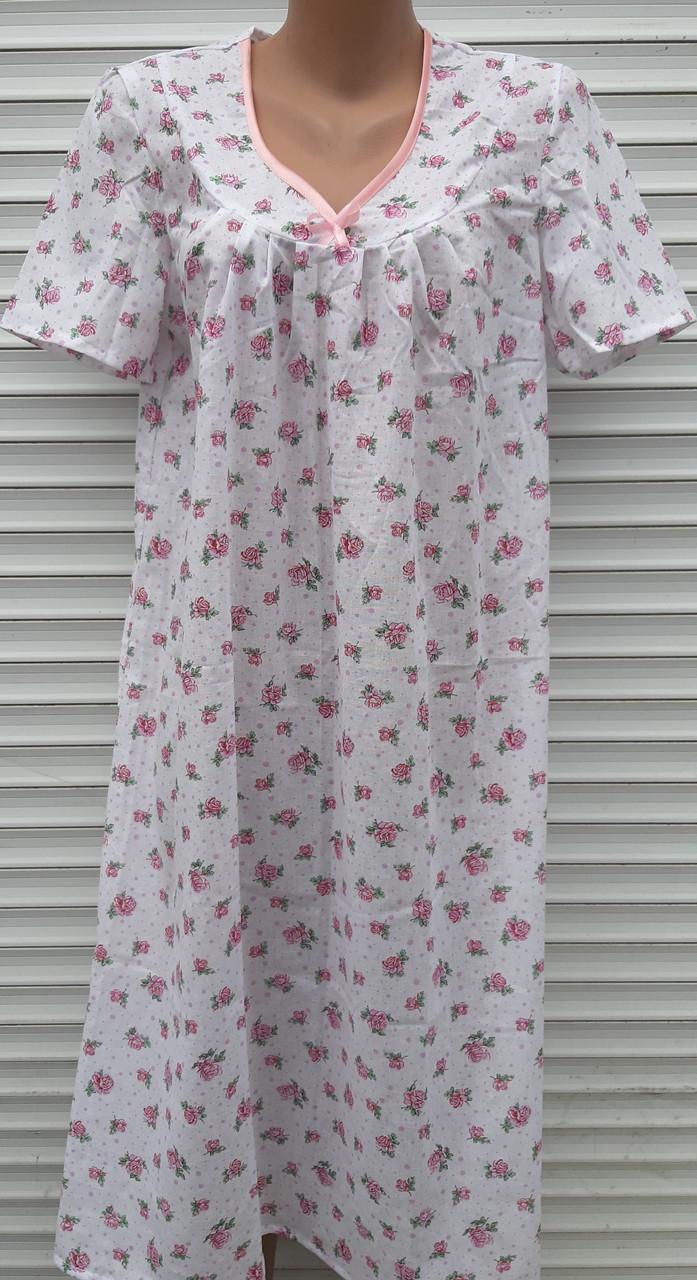 Ночная рубашка с коротким рукавом 54 размер Розовые розочки