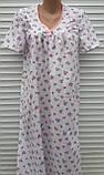 Ночная рубашка с коротким рукавом 54 размер Розовые розочки, фото 2