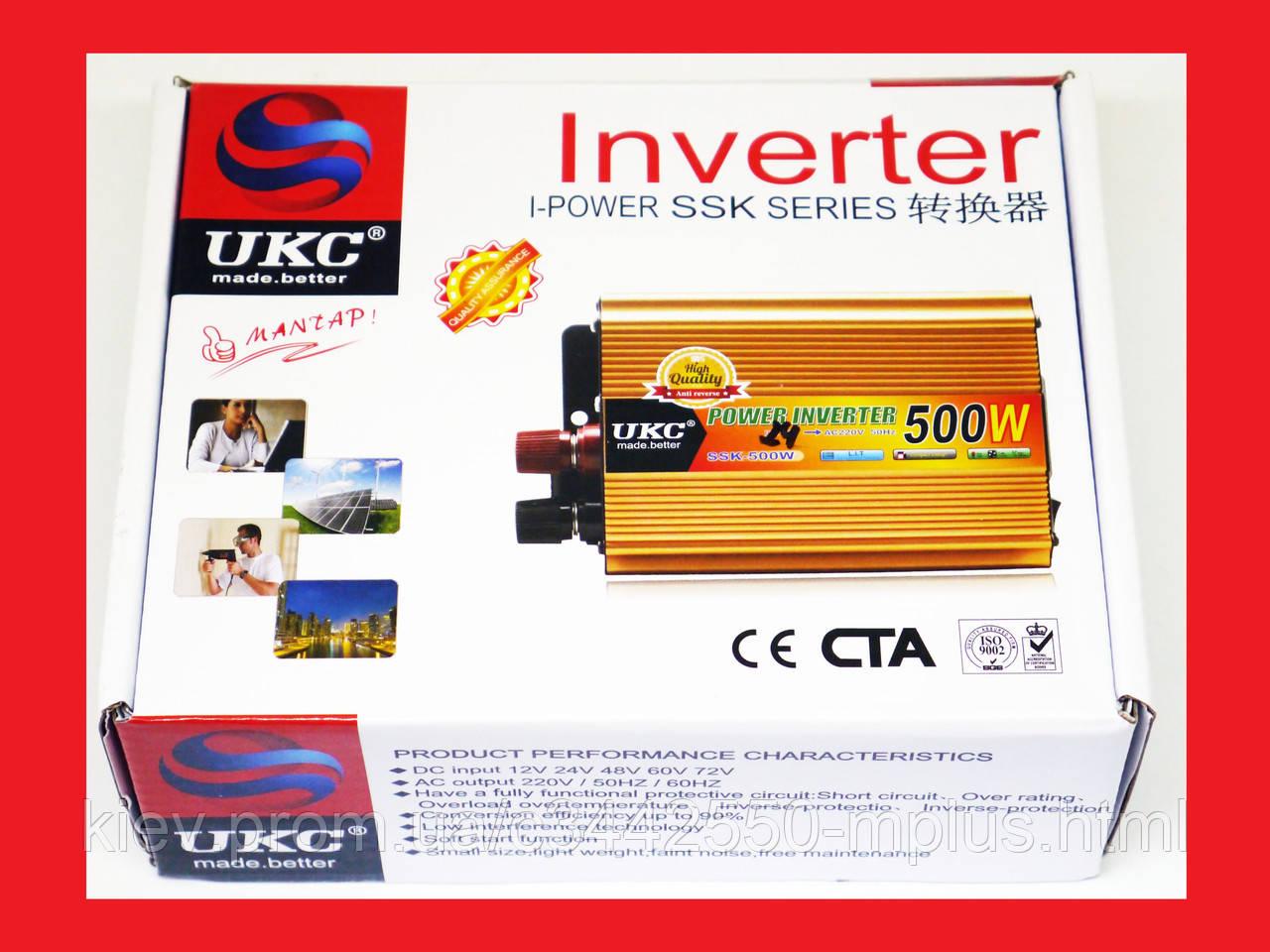 Инвертор UKC 500W 24V Преобразователь тока AC/DC Gold