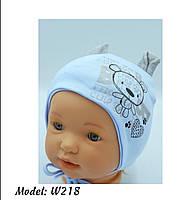 Шапка для мальчика трикотажная на завязках с ушками Размер 40-42 см Возраст 1-3 месяцев, фото 8