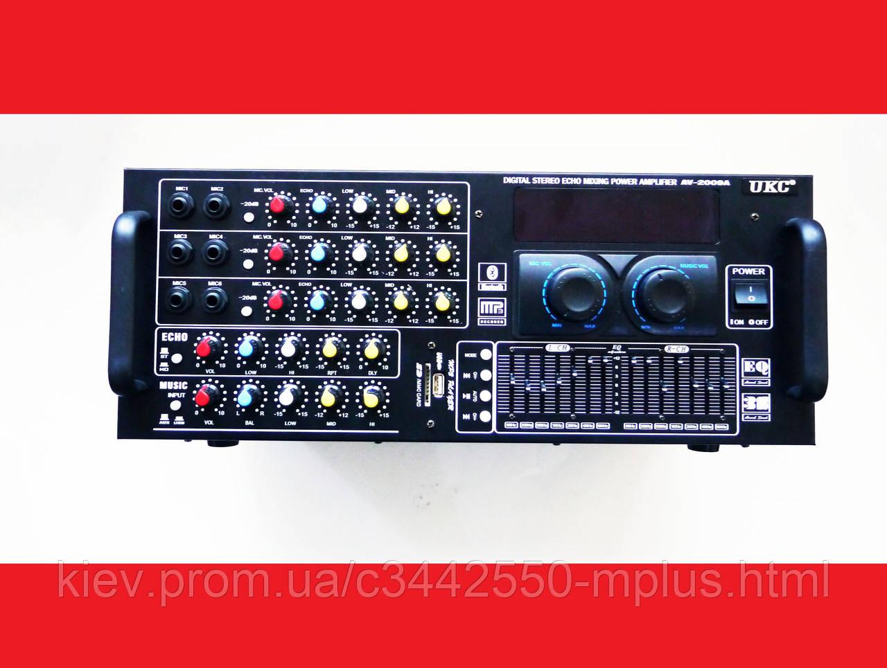Усилитель UKC AV-2009A FM SD USB AUX Караоке 6xМикрофонов 8-канальный