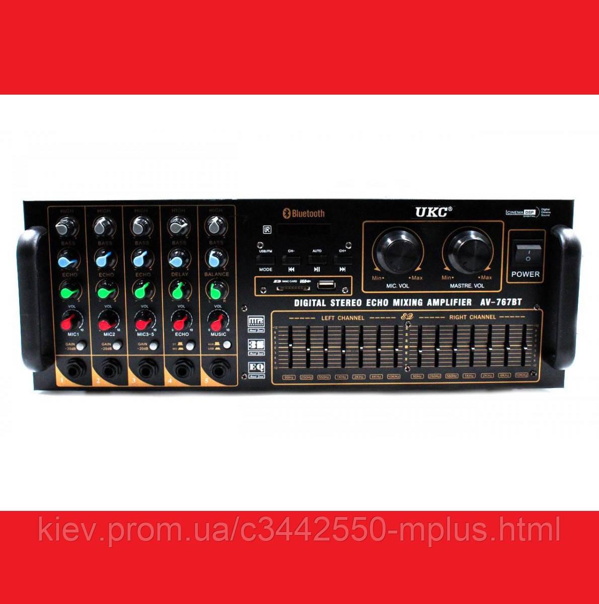 Усилитель UKC AV-767BT Bluetooth FM SD USB AUX Караоке 5xМикрофонов 8-канальный