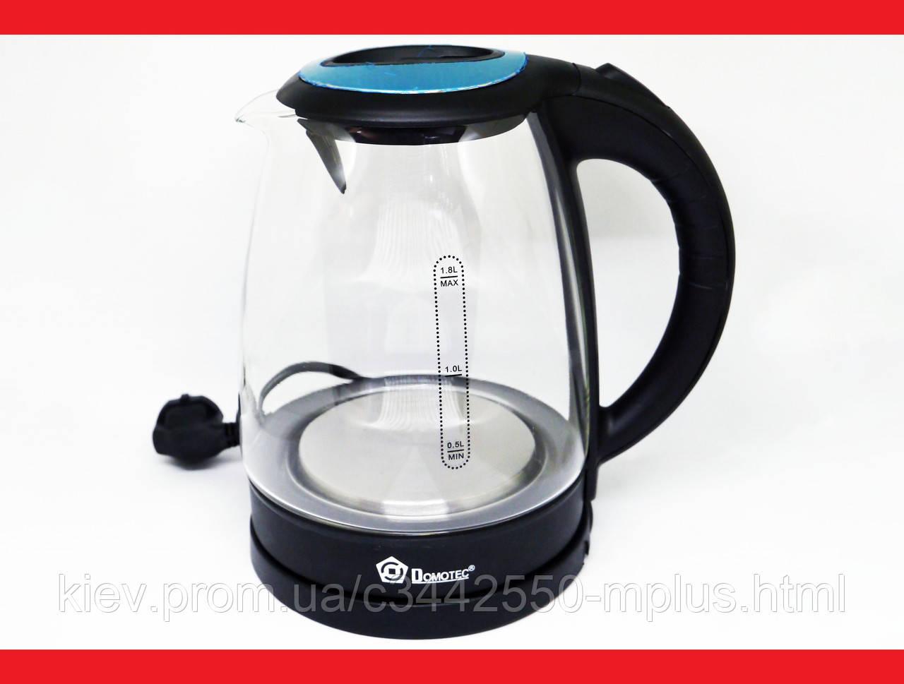 Domotec MS-8110 2200W 1.8L Чайник электрический (стеклянная колба)  LED подсветка
