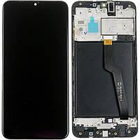 Дисплей для Samsung A105F Galaxy A10 (2019) модуль в сборе с тачскрином, черный, с рамкой