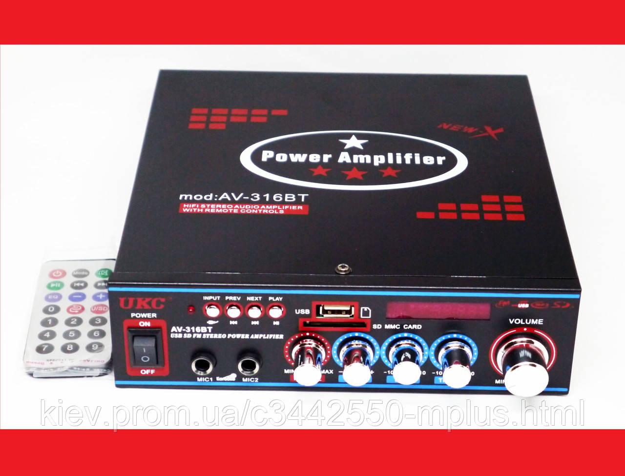 Усилитель UKC AV-316BT - Bluetooth, USB, SD, FM, MP3!  Караоке 2х канальный