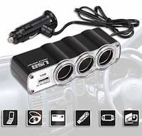 Разветвитель прикуривателя с 3-мя выходами + USB WF-0120 _1086