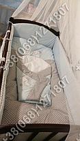 Детское постельное белье в кроватку с вышивкой Песик, комплект 8 ед. без балдахина (голубой), фото 2