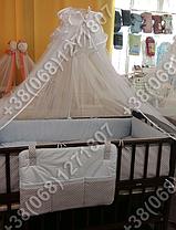 Детское постельное белье в кроватку с вышивкой Песик, комплект 8 ед. без балдахина (голубой), фото 3