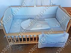 Детское постельное белье в кроватку с вышивкой Песик, комплект 8 ед. без балдахина (голубой)