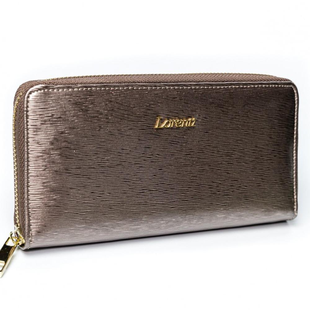 Женский лаковый кошелек на молнии серебристый LORENTI 77006-SH Grey