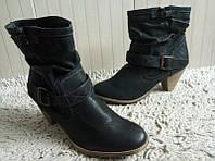 Женские черные ботинки на каблуке 41рр