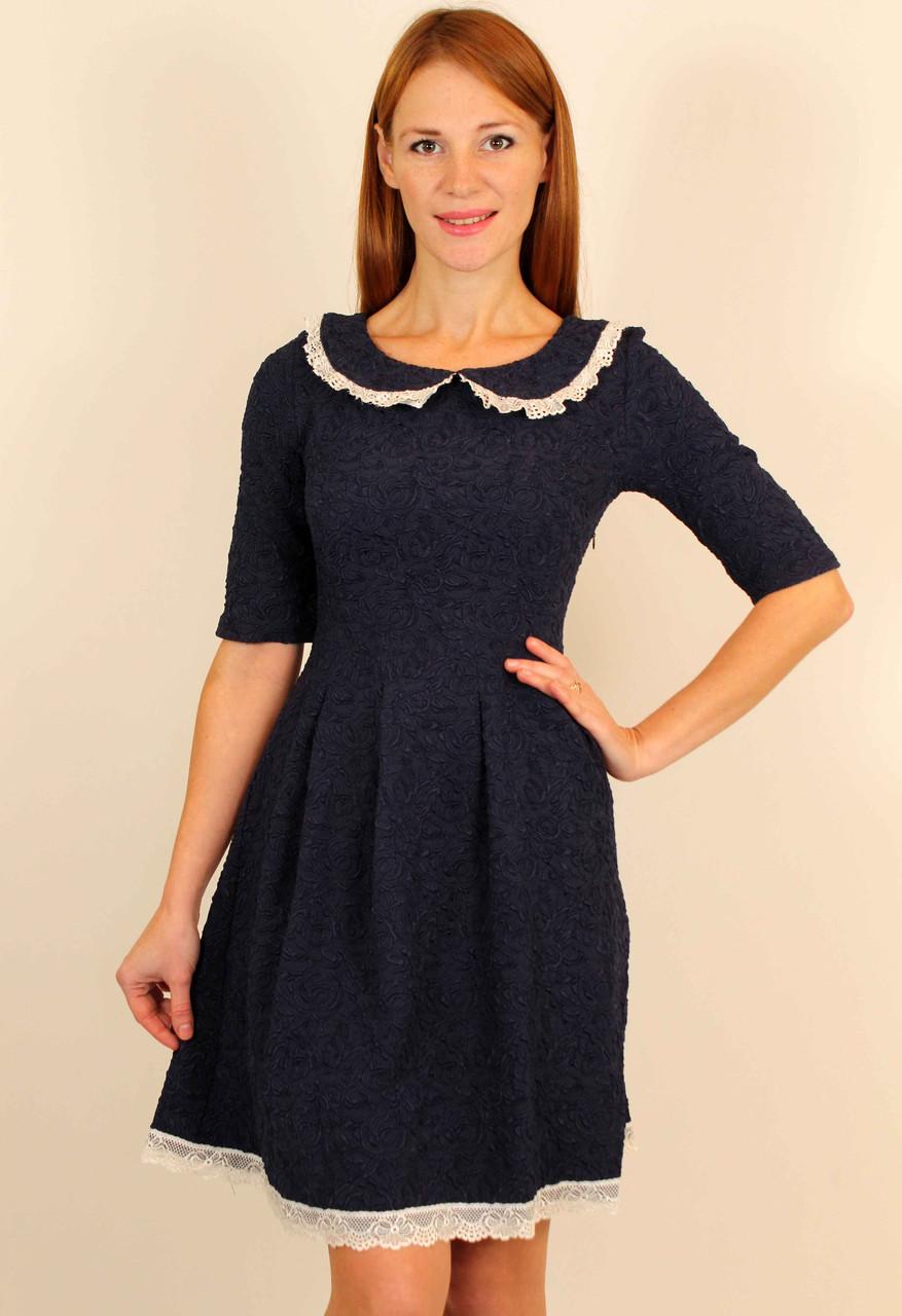 Молодежное платье с воротничком 42-48 р ( белый, синий, коралловый )