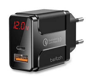 Зарядное устройство Twitch Qualcomm Quick Charge 3.0 36W USB / Type-C Digital display (TQ-MJ03) (black)