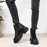 Кожаные женские черные ботинки утепленные