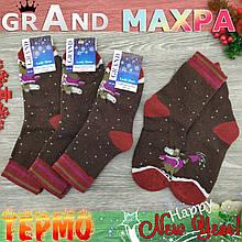 Шкарпетки жіночі махрові високі новорічні GRAND 23-25р бик коричневі 30024919