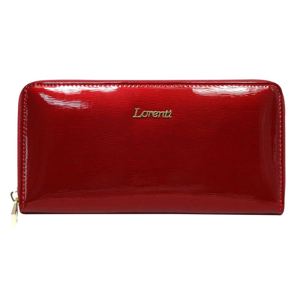 Женский лаковый кошелек на молнии красный LORENTI 77006-SH Red