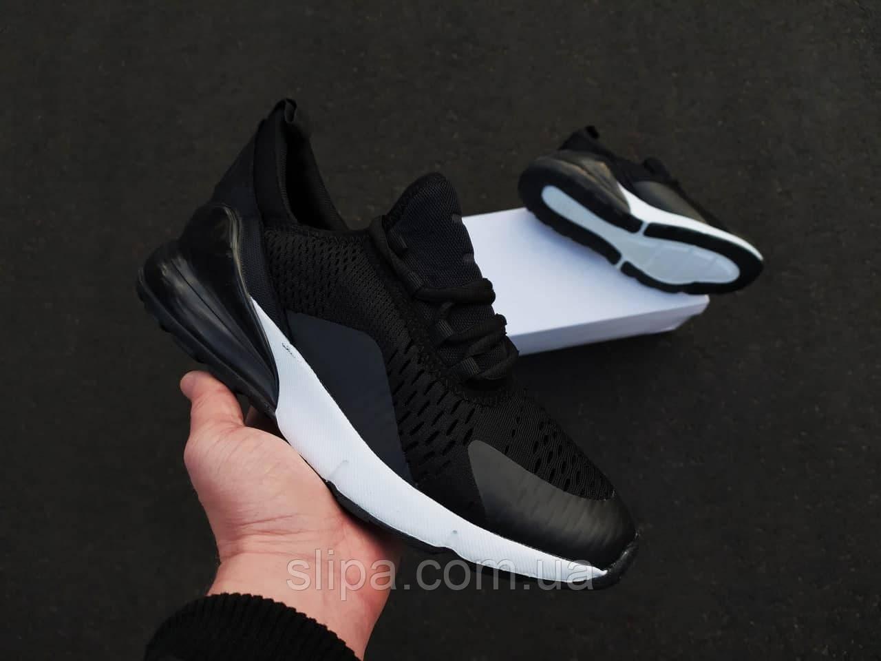 Мужские кроссовки Air Max 270 черные на белой подошве