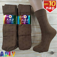 Капроновые носки женские A.M.Y fashion classic 100Den мокко цветочки НК-27100