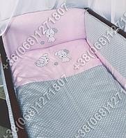 Детское постельное белье в кроватку с вышивкой Песик, комплект 8 ед. без балдахина (розовый)
