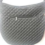 Стьобана жіноча Сумка міська. Регулюється величина сумки. Чорна, фото 4